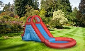 Backyard Pool With Slide - inflatable water slide and pool groupon goods