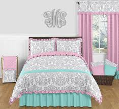 pink gray and turquoise skylar 3pc full queen girls bedding set