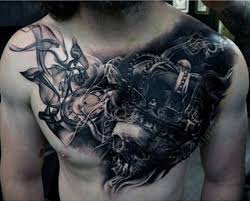 evil chest tattoos 50 smoke tattoos for manly matter to spirit
