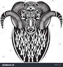 vector illustration totem animal tattoo ram stock vector 134826914