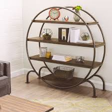 fabulous circle bookcase design with four wood tier shelves ideas