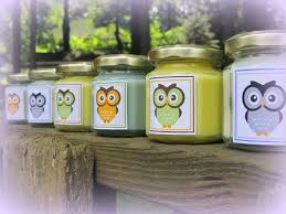candle baby shower favors baby shower favor owl themed soy candle hemp wick quantity