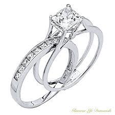 2 wedding rings 2 ct princess cut 2 engagement wedding ring solid 14k gold