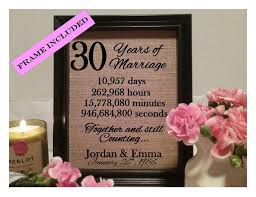 30 year anniversary gifts framed 30th anniversary gift 30th wedding anniversary gifts