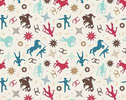 cowboy wrapping paper cowboy fabric etsy