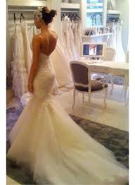v neck mermaid wedding dress cheap spaghetti straps lace