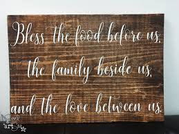 bless the food before us wood sign blessing rustic home decor