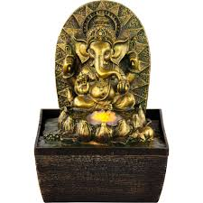 new age source water fountain gold ganesha yellow light fountain