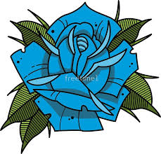 blue neo traditional rose tattoo
