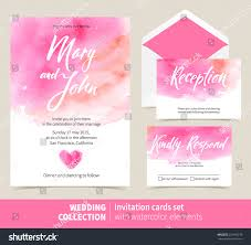 Invitation Cards Of Marriage Vector Set Invitation Cards Watercolor Elements Stock Vector