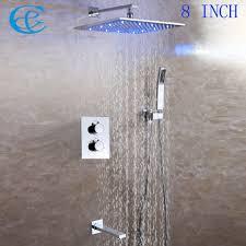 popular thermostatic bath buy cheap thermostatic bath lots from c c thermostatic bath shower faucet set 8 10 12 inch led rainfall temperature