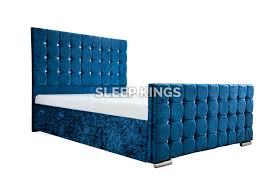 Velvet Bed Frame Cubed Upholstered Crushed Velvet Bed Frame Sleep