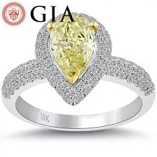 Pear Shaped Wedding Ring by 2 63 Ct Gia Certified Fancy Yellow Pear Shape Diamond Engagement
