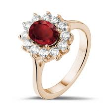 red gold rings images Entourage ring in red gold with an oval ruby and round diamonds jpg