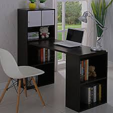 foxhunter multifunction computer desk 2 large shelves home office