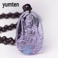 natural amethyst necklace images Yumten amethyst necklace natural stone pendant buddha guardian jpg