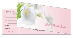 gift certificate printing gift certificates printing for nail salon