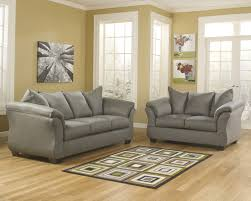 Upholstered Loveseat Chairs Ashley Darcy Cobblestone Soft Fabric Upholstered Sofa And Loveseat Set
