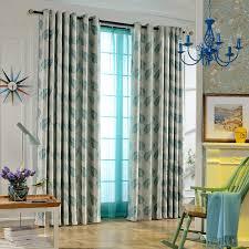 modern curtains teal leaf jacquard room darkening