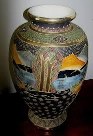 Large Mosaic Vase Huge Vintage Satsuma Vase 19 Inches Tall Gold Halos Around