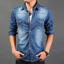 best 2014 spring wear men jeans shirt denim jeans wash blue long