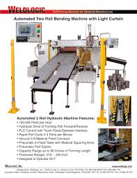 automated 2 roll bending machine with light curtain safety guards