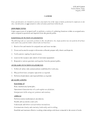 Resume Employment Goals Examples by Objective Cashier Resume Objective