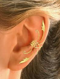 ear wraps and cuffs delicate leaf ear cuff ear wrap in sterling or gold by earcharms