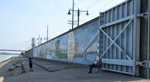 our national calamity the great easter 1913 flood june 2014 the mississippi river side of the cape girardeau floodwall also features murals note the enormous floodwall door photo trudy e bell 2009