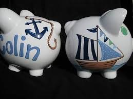personalized baby piggy banks personalized piggy bank sailboat nautical pirate ships ahoy i