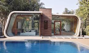 Pool House With Bathroom 42mm Architecture U0027s Sculptural Pool House In India Is Wrapped In A