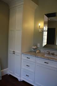 bathroom vanity with linen tower matching his and her master bath vanities and towers eclectic