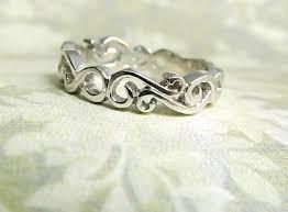 Personalized Wedding Band Scroll Ring Wedding Band 18k White Gold Ring Filigree Ocean