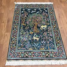 Handmade Iranian Rugs 3 U0027x4 5 U0027 Handmade Persian Tree Of Life Silk Rug Animal Scene Blue