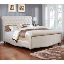 best quality b40 traditional beige fabric upholstered sleigh king bed