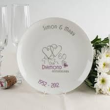 60th wedding anniversary plate personalised bone china plate diamond anniversary ribbon