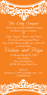 Hindu Marriage Invitation Card Sample Wedding Sangeet Invitation