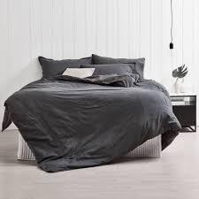 slate frayed edge linen blend quilt cover set temple u0026 webster