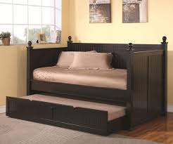 Black Daybed With Trundle Black Wooden Daybed With Trundle And Soft Brown Cover Mattress