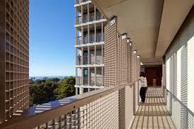 Building Exterior by Exterior Corridors Connector Bridges Between Buildings And