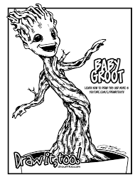 baby groot guardians of the galaxy u2013 draw it too