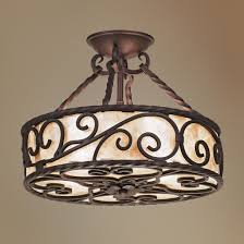 wrought iron flush mount lighting natural mica collection 15 wide iron ceiling light fixture