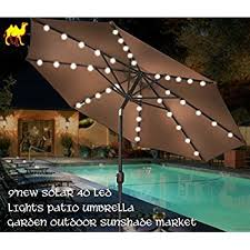 patio umbrella with solar led lights amazon com strong camel 9 new solar 40 led lights patio attractive