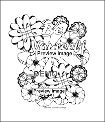 be yourself positive affirmation coloring page coloring
