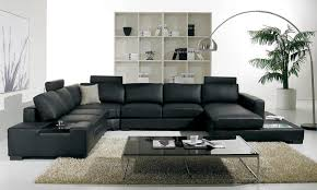 modern minimalist living room design with black leather sofa and