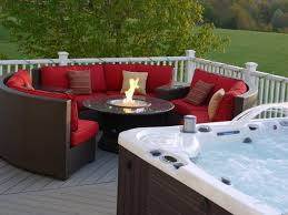 patio furniture with fire pit with red sofa and cushion and fire