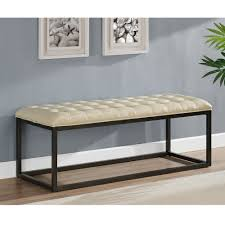 healy cream bonded leather bench free shipping today overstock