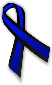 blue and black awareness ribbon for concern of survivors