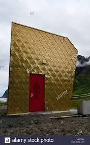 ersjfjord senja norway august 20 2016 the golden toilet