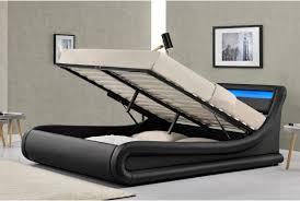 madrid ottoman storage led lights bed frame black or crushed